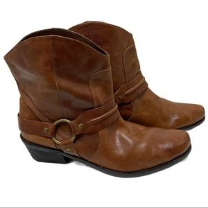 Franco Sarto Cognac Western Leather Boots Size 9